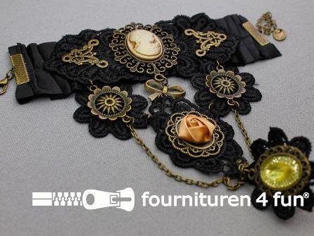 Steampunk armband met ring tandwielen brons - zwart - oud roze