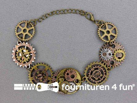 Steampunk armband tandwielen brons - zilver - koper