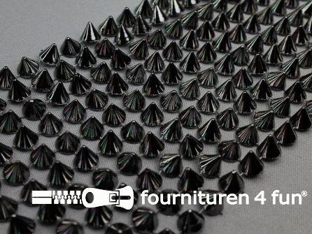 Strass band 110mm spikes zwart zilver