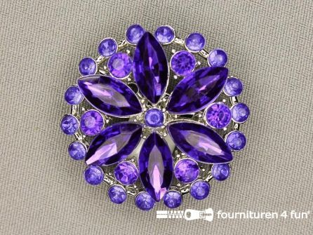 Strass broche 37mm rond paars