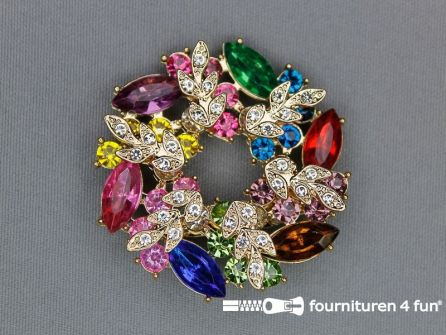 Strass corsage 48x48mm goud - multicolor