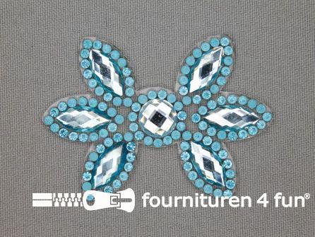 Strass decoratie opstrijkbaar 60x42mm aqua blauw