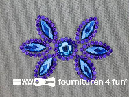 Strass decoratie opstrijkbaar 60x42mm kobalt blauw