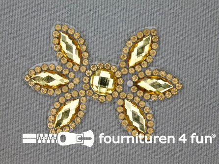 Strass decoratie opstrijkbaar 60x42mm geel goud
