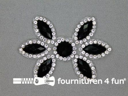 Strass decoratie opstrijkbaar 60x42mm zwart zilver