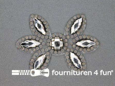 Strass decoratie opstrijkbaar 60x42mm donker zilver