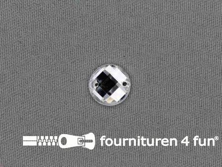 10 stuks Strass stenen rond 12mm zilver