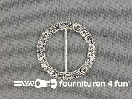 Strass stenen gesp 25mm rond zilver