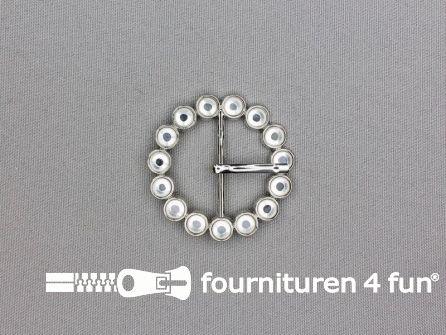 Strass stenen gesp 30mm met los pinnetje - rond zilver