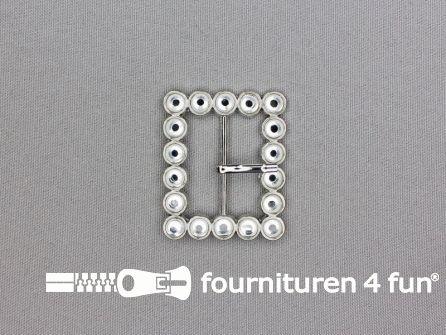Strass stenen gesp 30mm met los pinnetje - rechthoek zilver