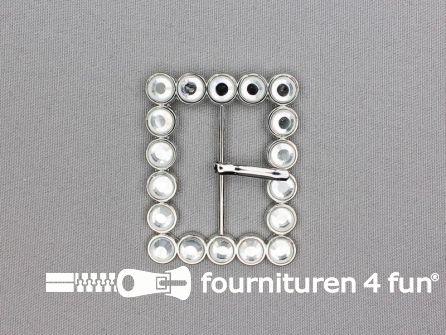 Strass stenen gesp 40mm met los pinnetje - rechthoek zilver