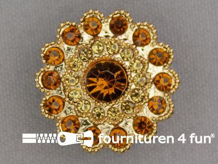 Strass stenen knoop 25mm rond goud - bruin