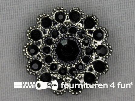 Strass stenen knoop 25mm rond zwart - zwart zilver