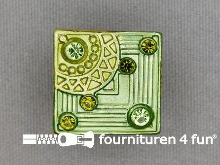 Strass stenen knoop 19mm vierkant lime groen
