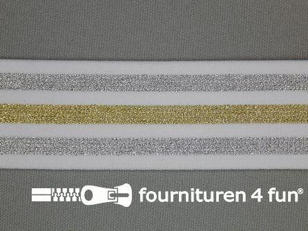 Elastiek met goud en zilver strepen wit 40mm