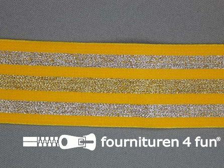 Elastiek met goud en zilver strepen geel 40mm