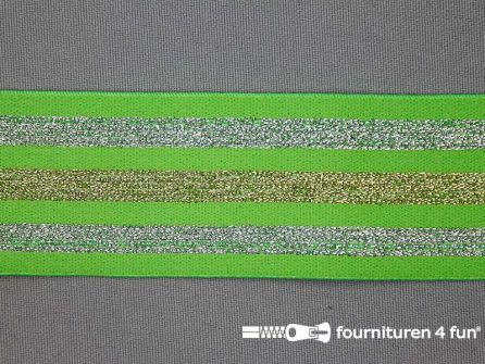 Elastiek met goud en zilver strepen lime groen 40mm