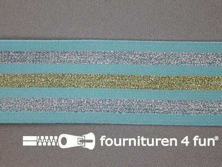 Elastiek met goud en zilver strepen mint blauw 40mm