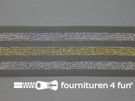 Elastiek met goud en zilver strepen grijs 40mm
