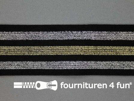 Elastiek met goud en zilver strepen zwart 40mm