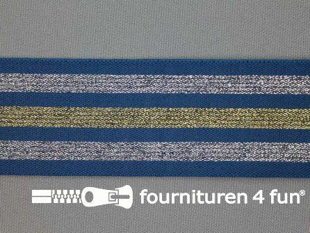 Elastiek met goud en zilver strepen jeans blauw 40mm