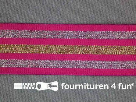 Elastiek met goud en zilver strepen fuchsia roze 40mm