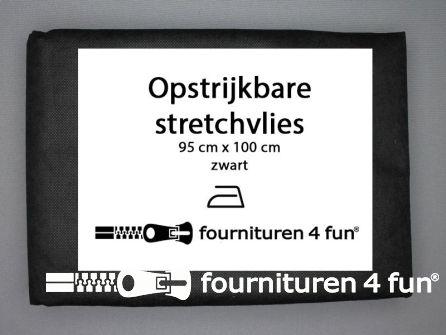 Opstrijkbare stretchvlies 95x100cm zwart