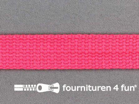 Katoen-look tassenband 20mm neon roze
