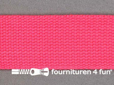 Katoen-look tassenband 38mm neon roze