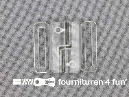 Bikini sluiting kunststof transparant 20mm