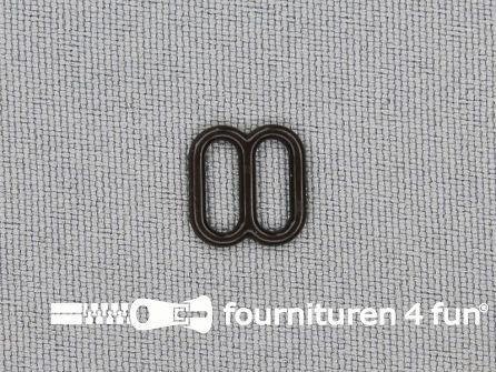 5 Stuks kunststof verstel schuifje donker bruin 8mm