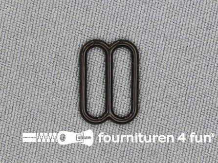 5 Stuks kunststof verstel schuifje donker bruin 12mm