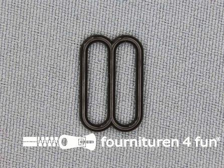 5 Stuks kunststof verstel schuifje donker bruin 15mm