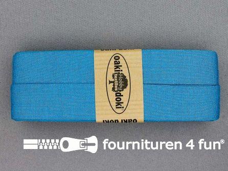 Tricot biaisband 20mm x 3 meter donker aqua blauw