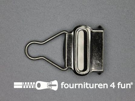 Tuinbroek gesp 25mm zwart zilver - per paar