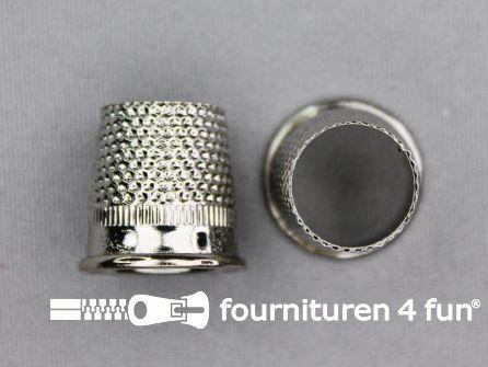 Vingerhoedje 16mm chroom - open bovenkant