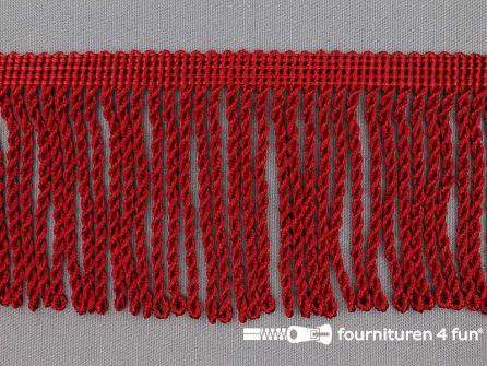 Viscose franje grof 80mm bordeaux rood