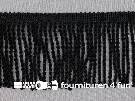 Viscose franje grof 80mm zwart