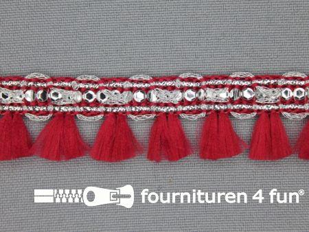 Klosjesband 19mm donker rood - zilver