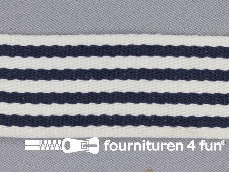Gestreept tassenband 40mm donker blauw - wit