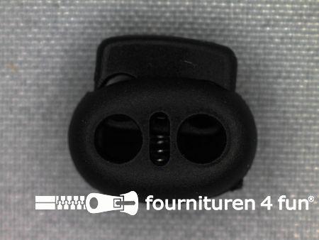 Koord stopper 18mm dubbel zwart