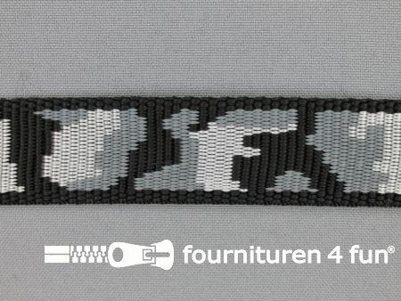 Geweven halsband camouflage 25mm grijs