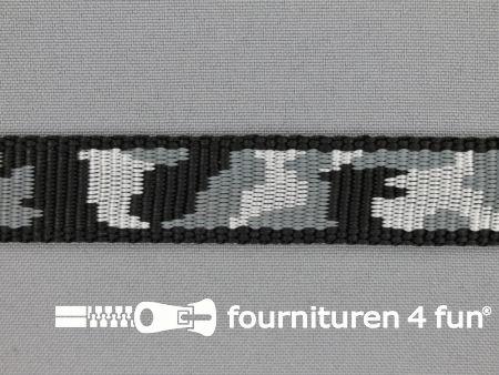 Geweven halsband camouflage 20mm grijs