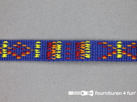 Geweven halsband aztec 15mm kobalt blauw