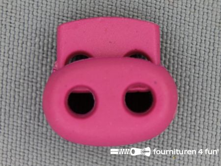 Koord stopper 18mm dubbel fuchsia roze