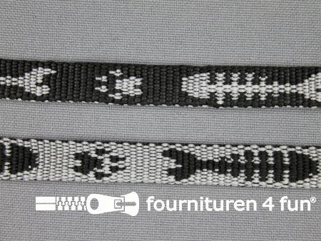 Geweven halsband visgraat 10mm zwart - grijs
