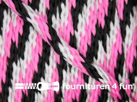 Polypropyleen touw 6mm roze - zwart - wit