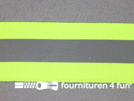 Reflecterende band 25mm neon geel