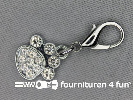 Halsband decoratie 16mm pootje - strasstenen
