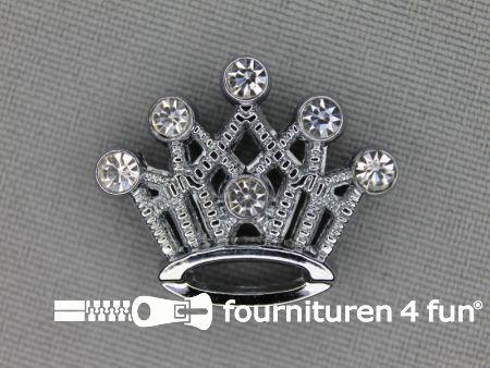 Halsband decoratie 18mm grote kroon - strasstenen